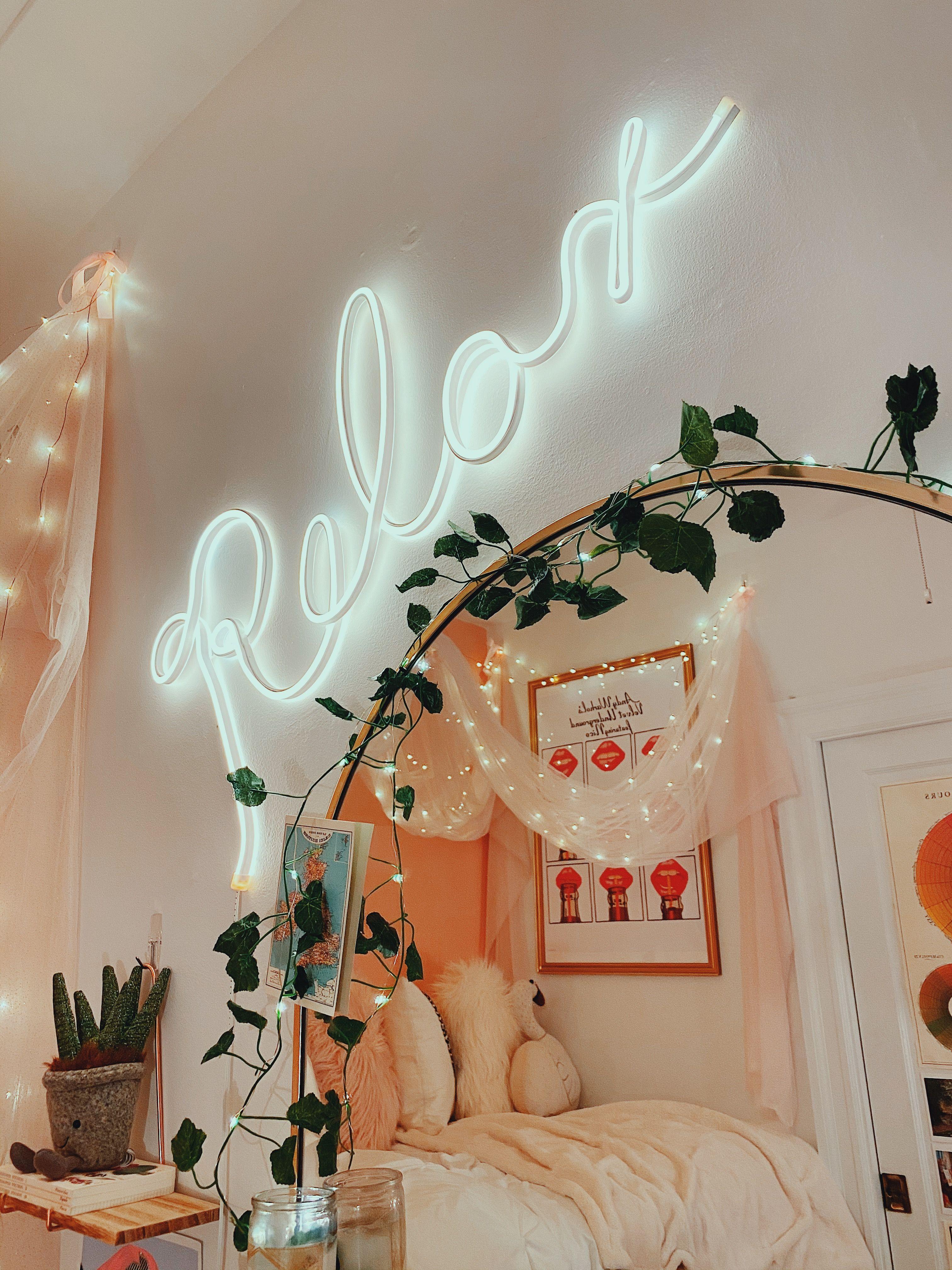 neonsigns pbteen bedroom bedroomideas roomideas dormroomideas aesthetic pink vines on cute lights for bedroom decorating ideas id=15999