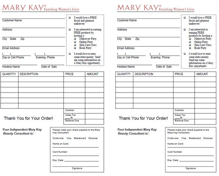 mary kay order form  Image result for outside order form mary kay | Mary kay ...