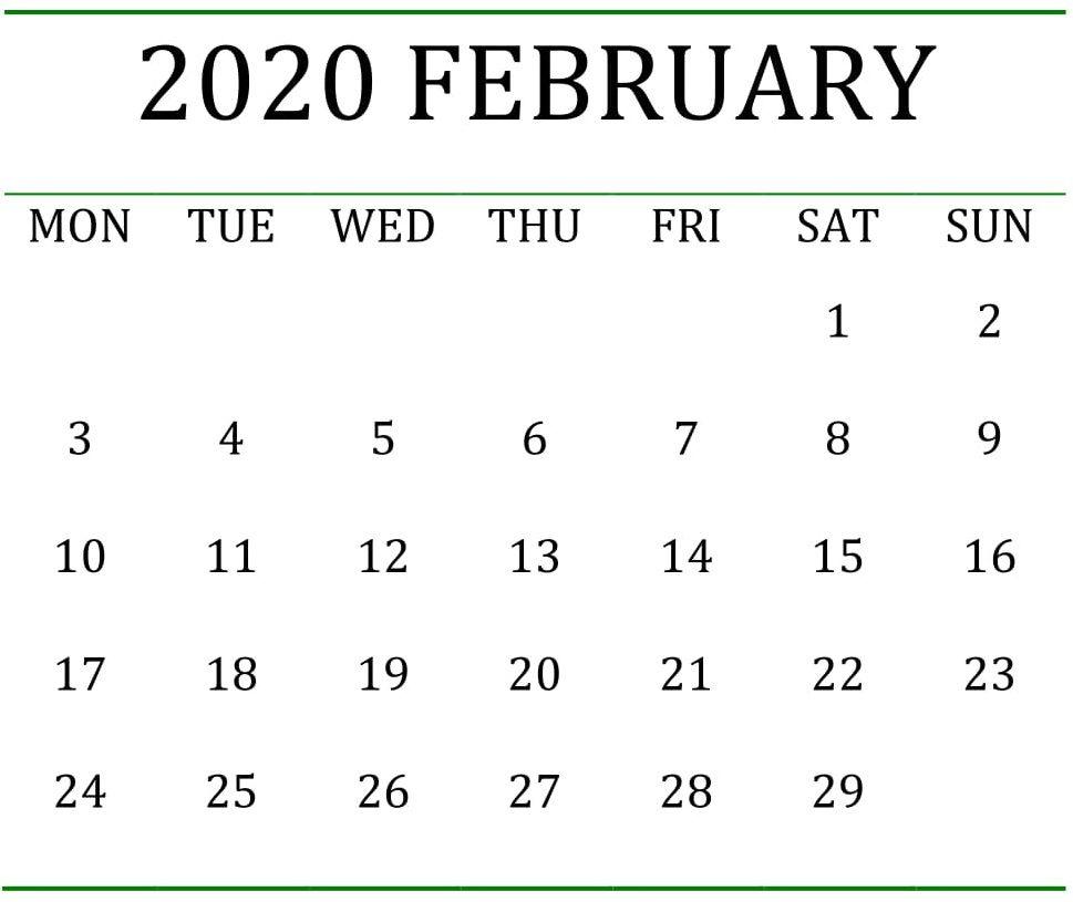 Free February Holidays 2020 Calendar Template In Us Uk Canada