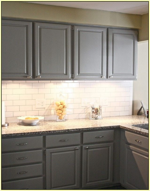 Gray Cabinets White Subway Tile Backsplash Kitchen
