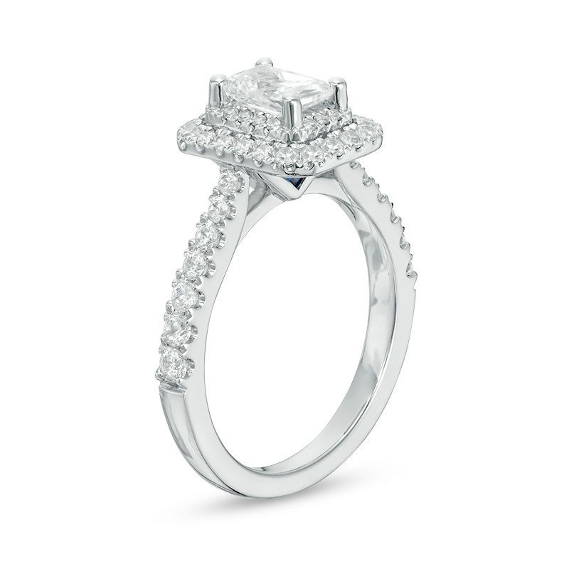 8aa36187b876 Vera Wang Love Collection 1-1 3 CT. T.W. Emerald-Cut Diamond Double Frame  Engagement Ring in 14K White Gold