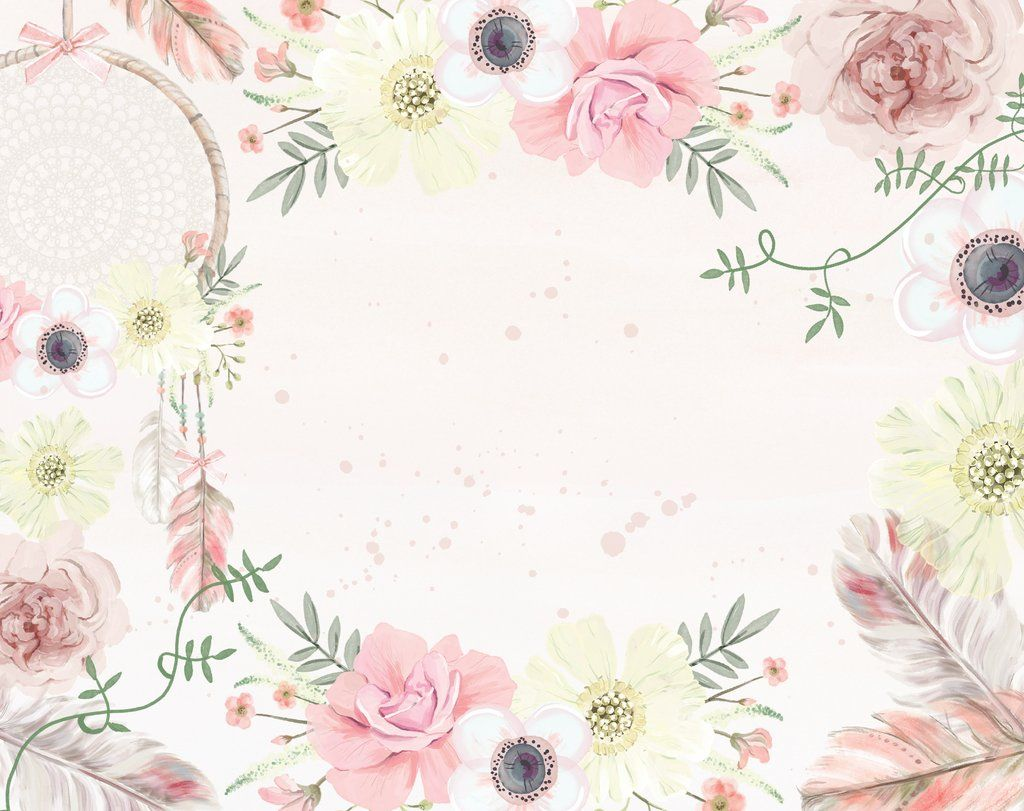 Boho Flowers Dreamcatcher Wallpaper Up To 4 X Square Metres
