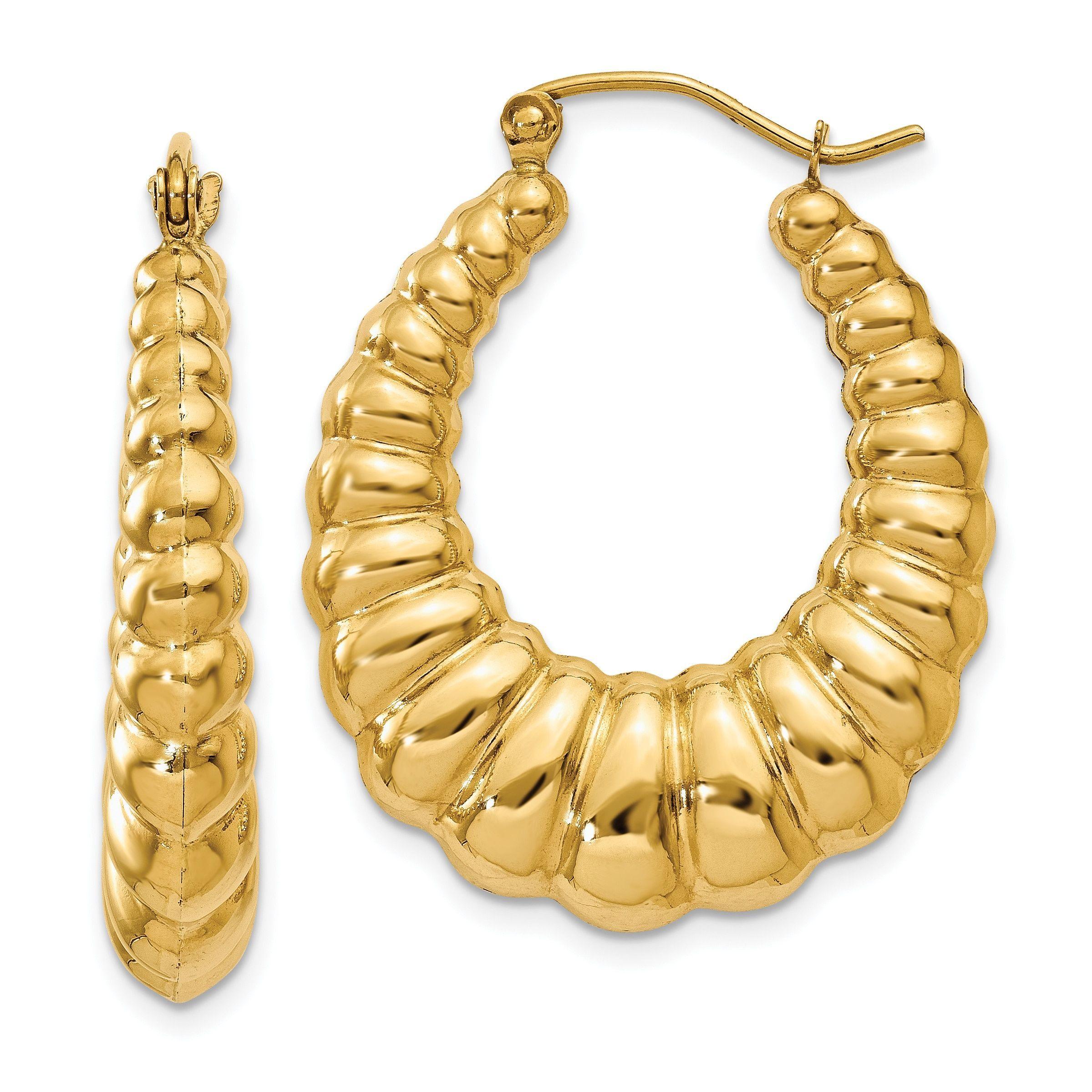 Versil 14k Gold Polished Scalloped Hoop Earrings