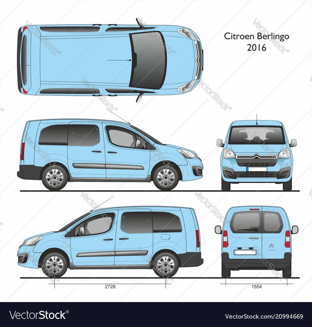 Citroen Berlingo L2 2016 Professional Passenger Van Detailed Template For Design And Production Of Vehicle Wraps Scale 1 To 10 Downlo Citroen Berlingo Van Car