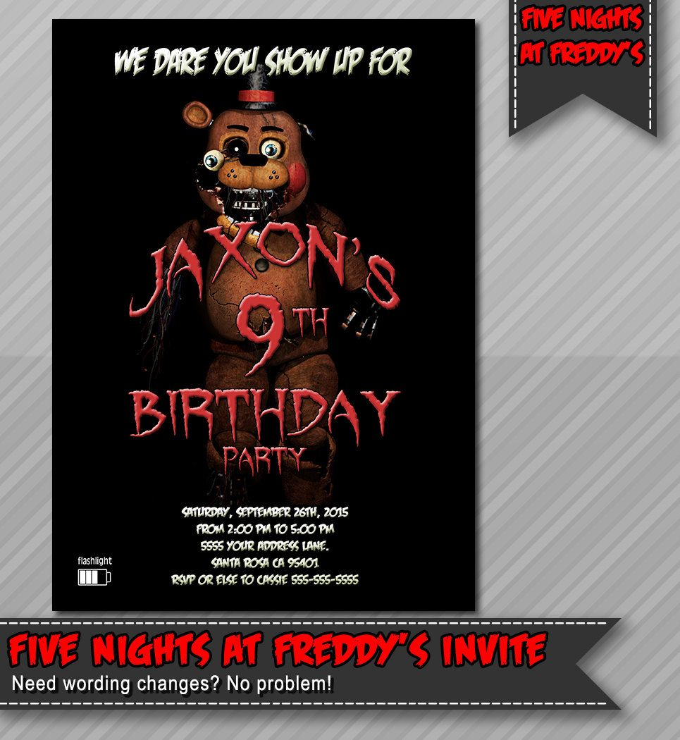 Five Nights At Freddys Invitation Fazzbear Party By WolcottDesigns On Etsy