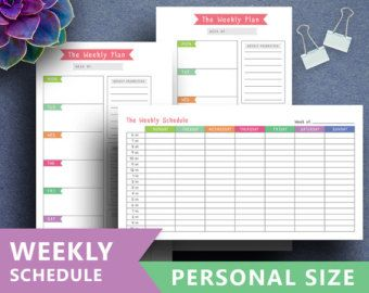 Weekly Schedule Printable: WEEKLY PLANNER A5 A4 by SquirrelPlanner