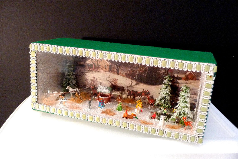 Christmas Diorama Winter Shadow Box Americana OOAK