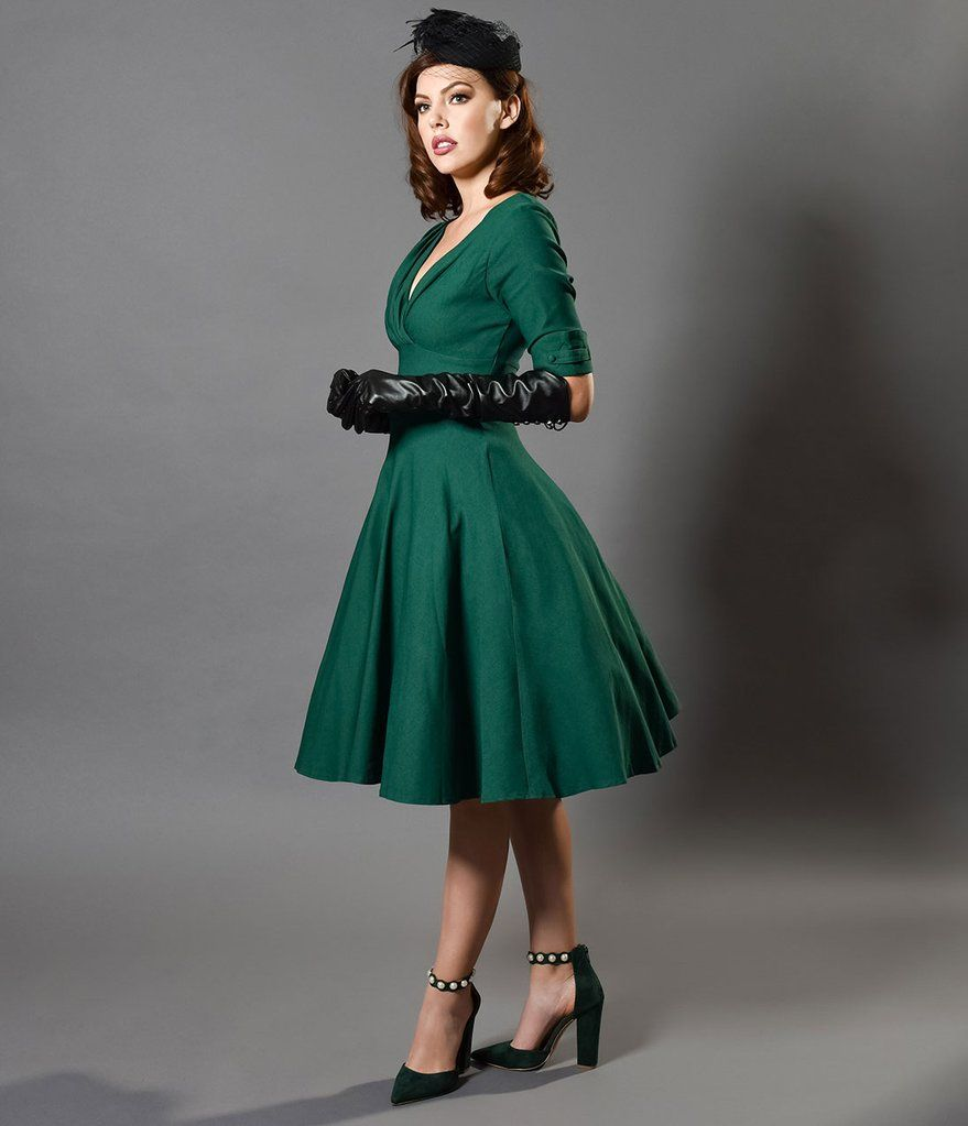 Emerald green dress for wedding  s Emerald Green Delores Swing Dress with Sleeves  gloves