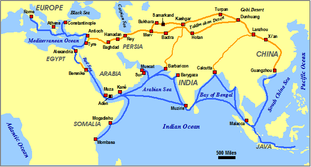 Map Of Trade Routes On Silk Road Silk Road Silk Road Map Route Map