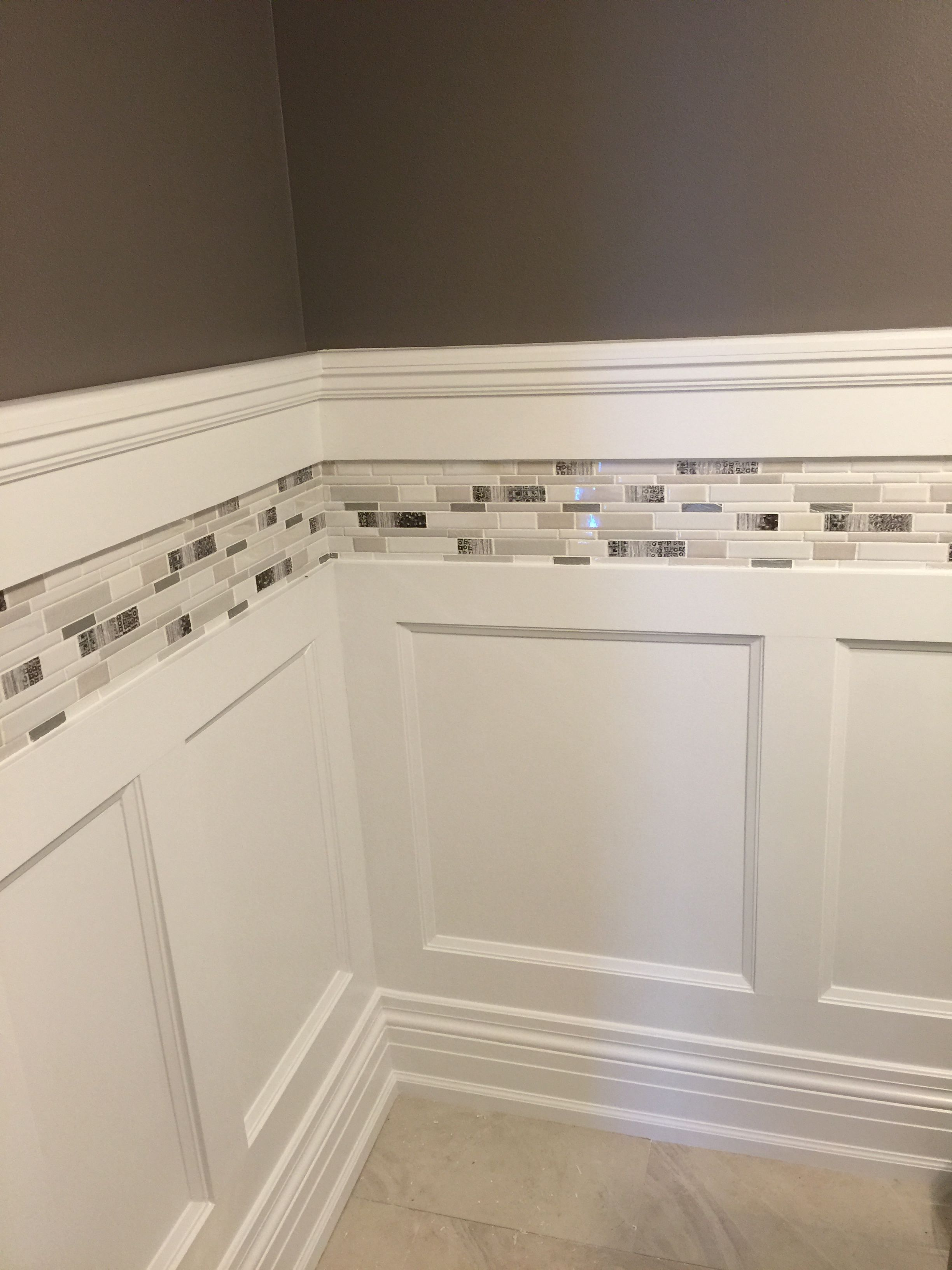 Wainscoting Trim Tile With Chair Rail House Bathroom Home Bathrooms Remodel