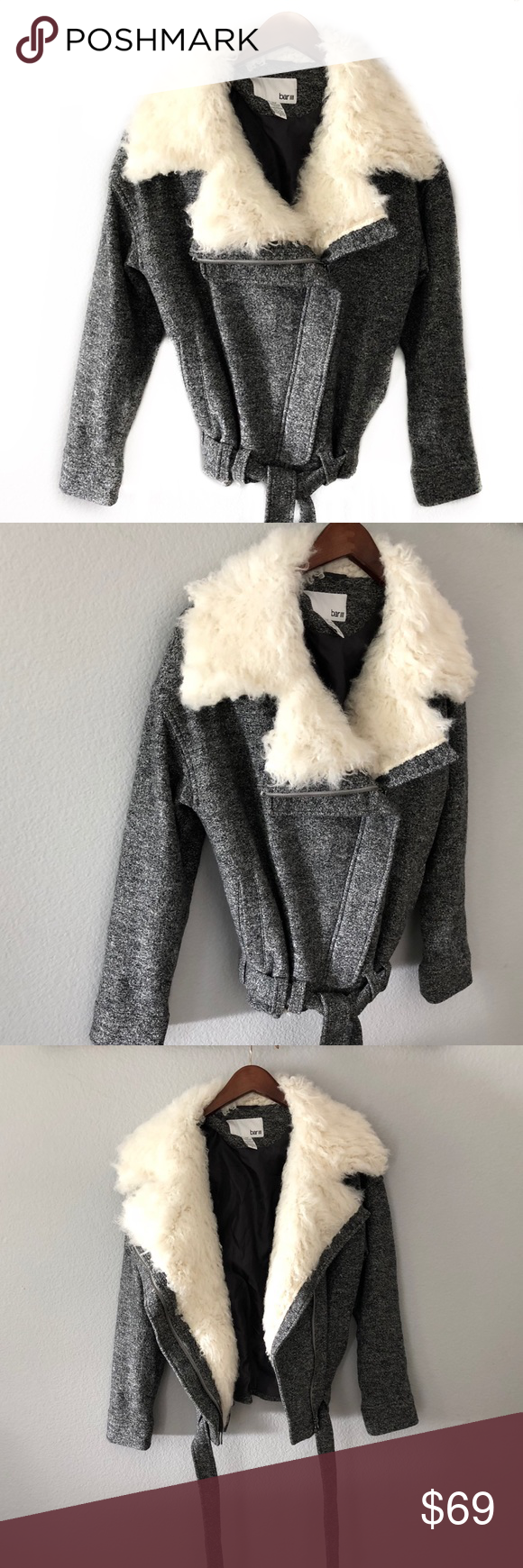 barIII Gray Wool Belted Moto Jacket Sherpa Collar
