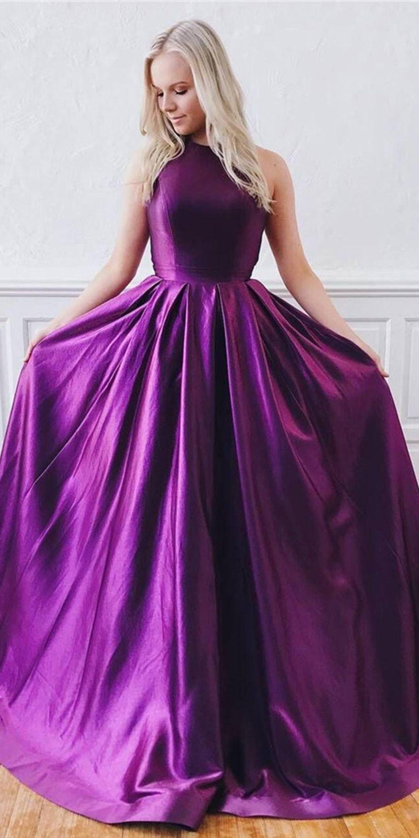 Unique Purple Satin Sleeveless Sweep Train Open Back Long Prom Dress Evening Dress Ohc405 Prom Dress With Train Prom Dresses Long Cheap Prom Dresses Long [ 1650 x 825 Pixel ]