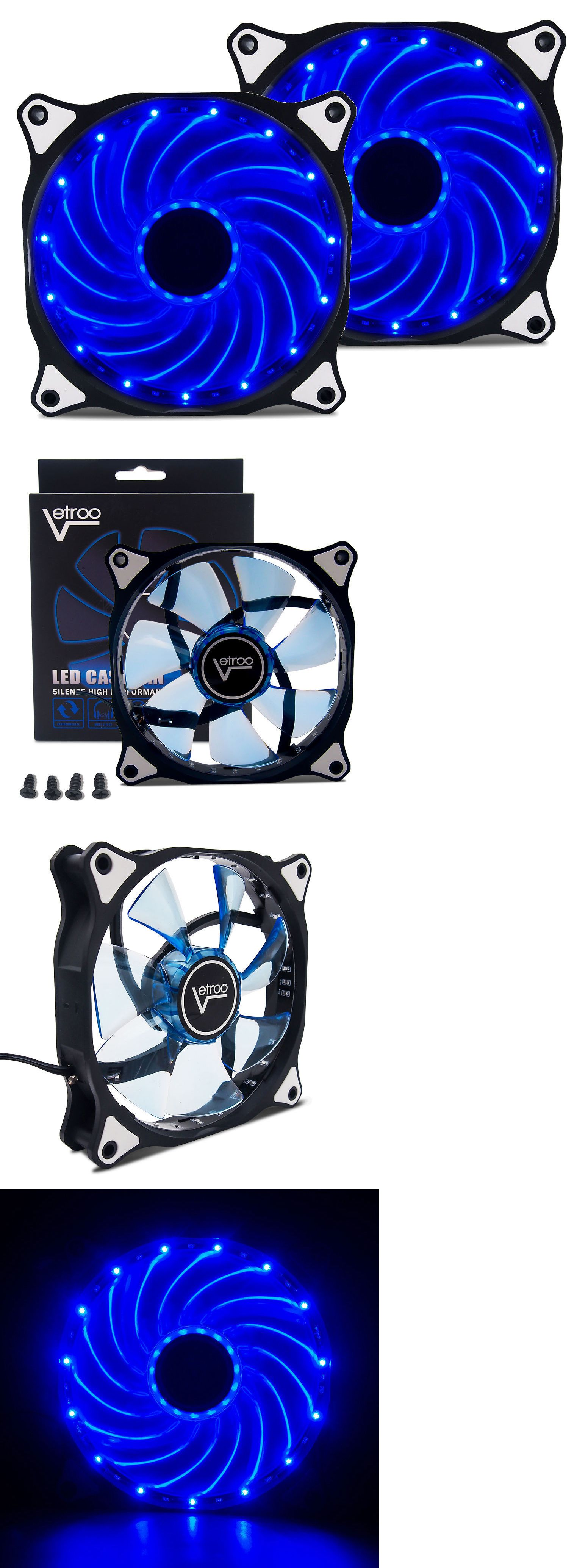 2 Pack 120mm Blue Led Computer Pc Case Cooling Fan Quiet Sleeve Bearing Vetroo Pc Cases Pc Computer Cooling Fan