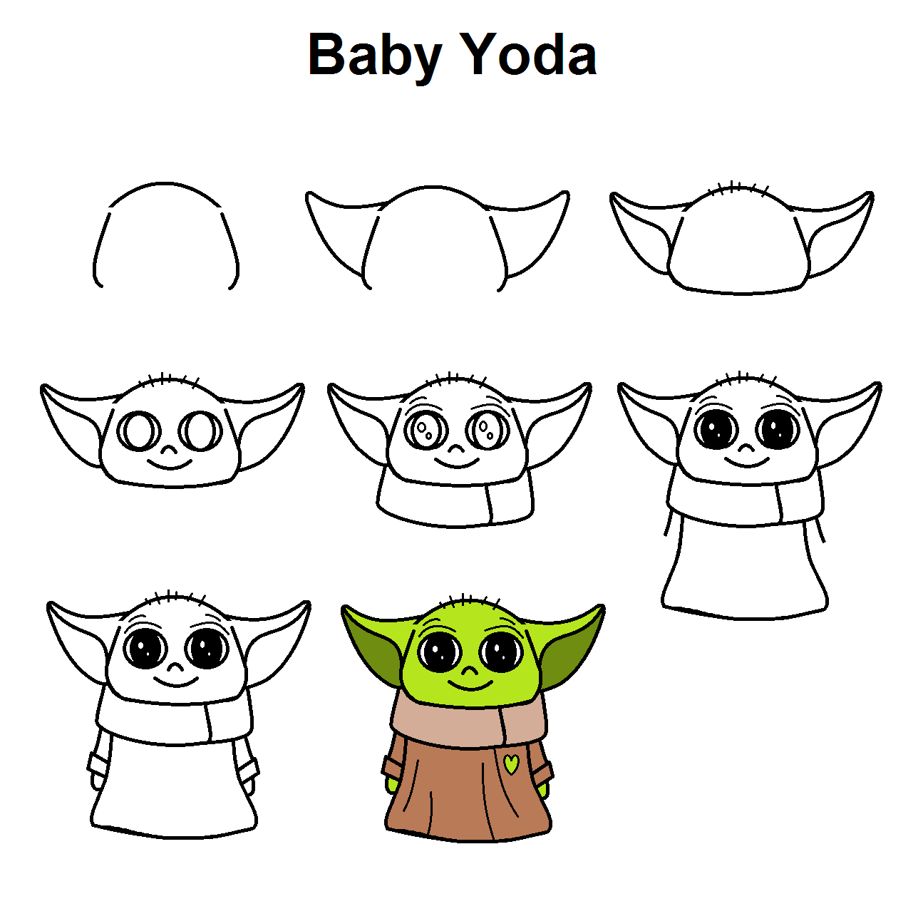 Grogu Baby Yoda Easy Doodles Drawings Cute Easy Drawings Easy Drawings