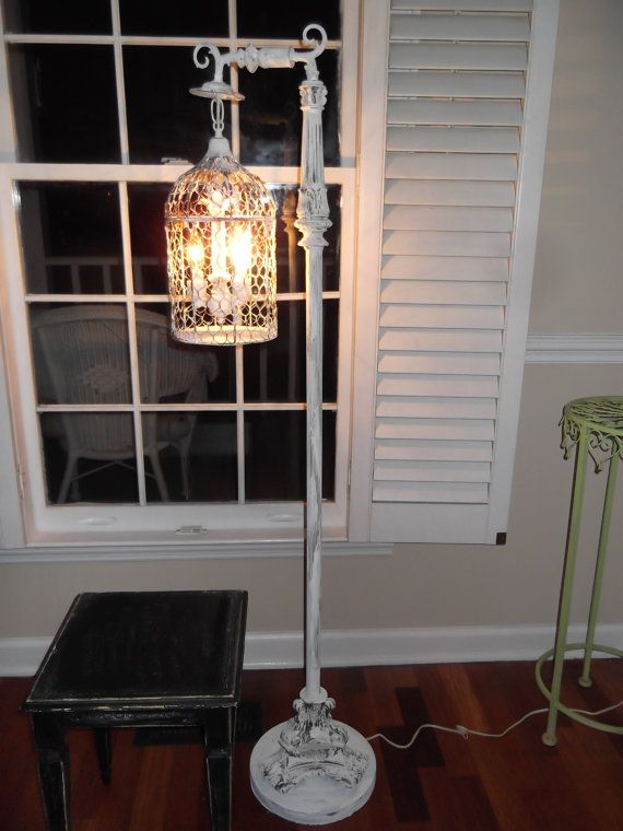 Chandelier Floor Lamp Vintage Bird Cage Light Shabby Chic Chippy French Farmhouse Upcycled