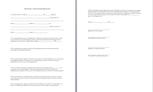 Contractor  Subcontractor Agreement  Business Forms