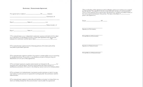 Contractor Subcontractor Agreement