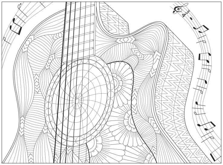 Free Guitar With Music Notes Coloring Page From Coloring With Steve Do You Know The Song Coloring Pages Free Adult Coloring Pages Adult Coloring Pages