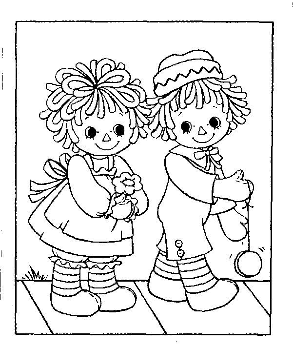Raggedy Ann Tea Party Coloring Page | Raggedy Ann and Andy colouring ...