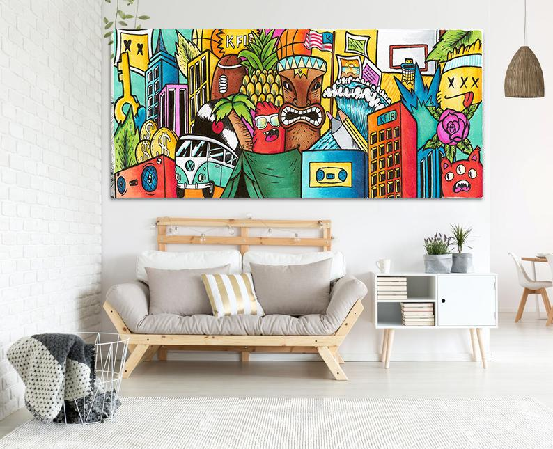 Colorful Graffiti Art Print On Canvas Living Room Wall Etsy In 2021 Horizontal Wall Art Colorful Wall Art Pop Art Canvas