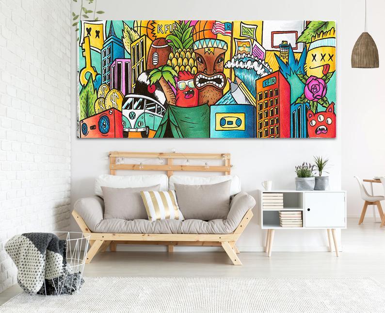Living Room Wall Art Pop Art Print Extra Large Wall Art Etsy Pop Art Canvas Etsy Wall Art Horizontal Wall Art #wall #sculpture #for #living #room