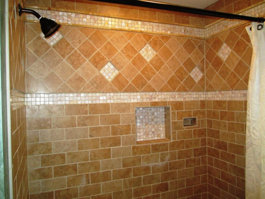 Hall bathroom shower stall redone with alabaster and stone tiles ...