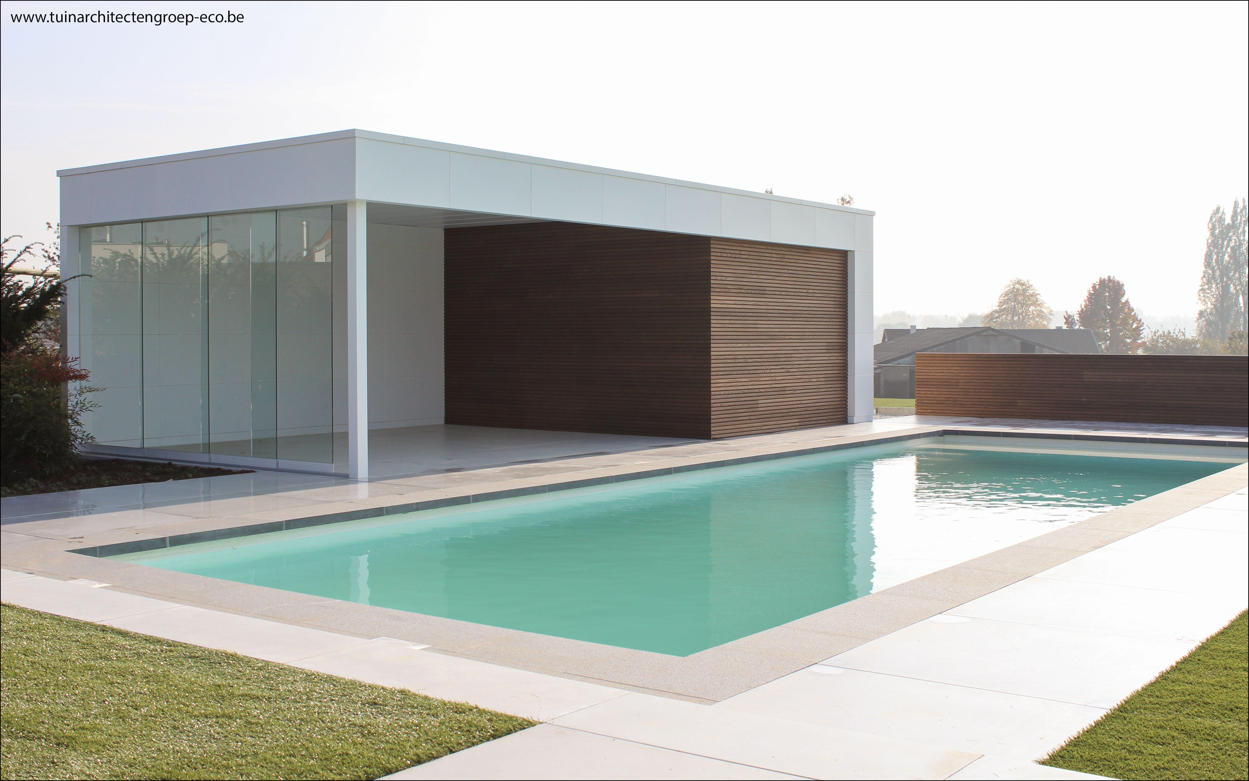 Modern poolhouse zwembad met verdoken rolluik   Garden creations ...