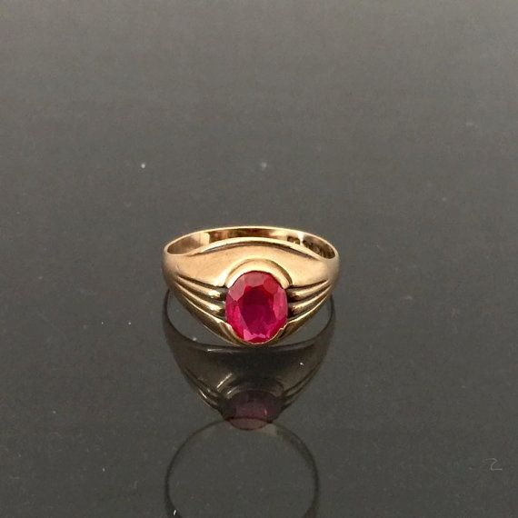 Vintage 1960s 10k Solid Yellow Gold 1 21ct Ruby Ring Size 7 Yellow Gold Gold Silver Rings