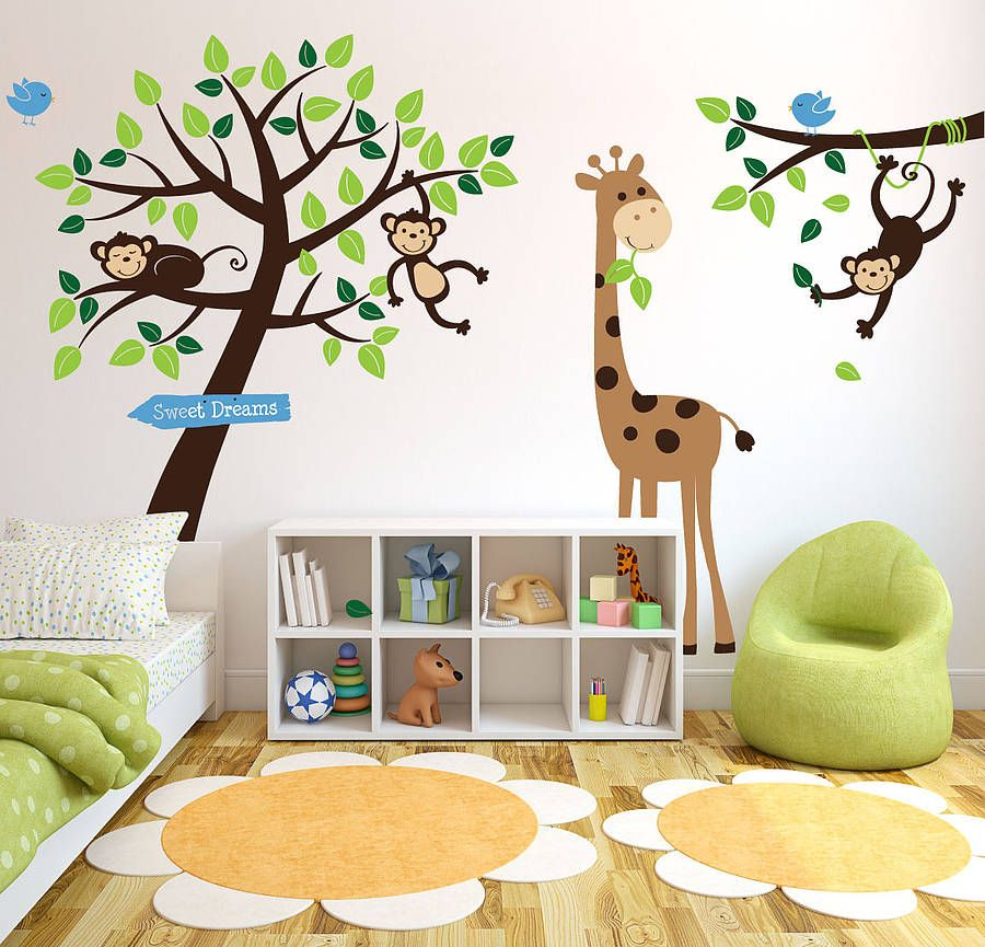 4 Cute Monkeys Wall Decals Sticker Nursery Decor Mural: Animals And Tree Wall Sticker
