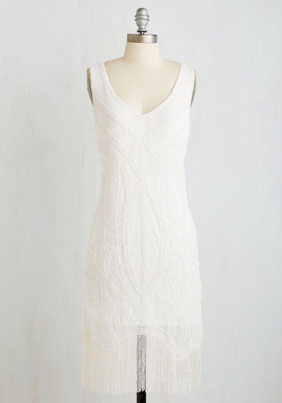 Sing Swing Dress Long Knit Mixed Media White