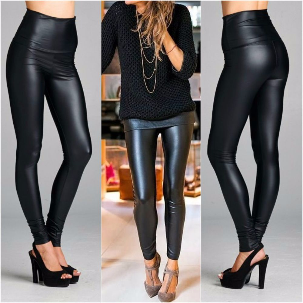 so cheap classic styles high quality materials Details about HIGH WAIST Black Liquid Leather Look Leggings ...