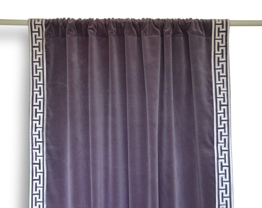 Handcrafted Cotton Velvet Curtain With Greek Key Embroidery Velvet Curtains Curtains Custom Made Curtains