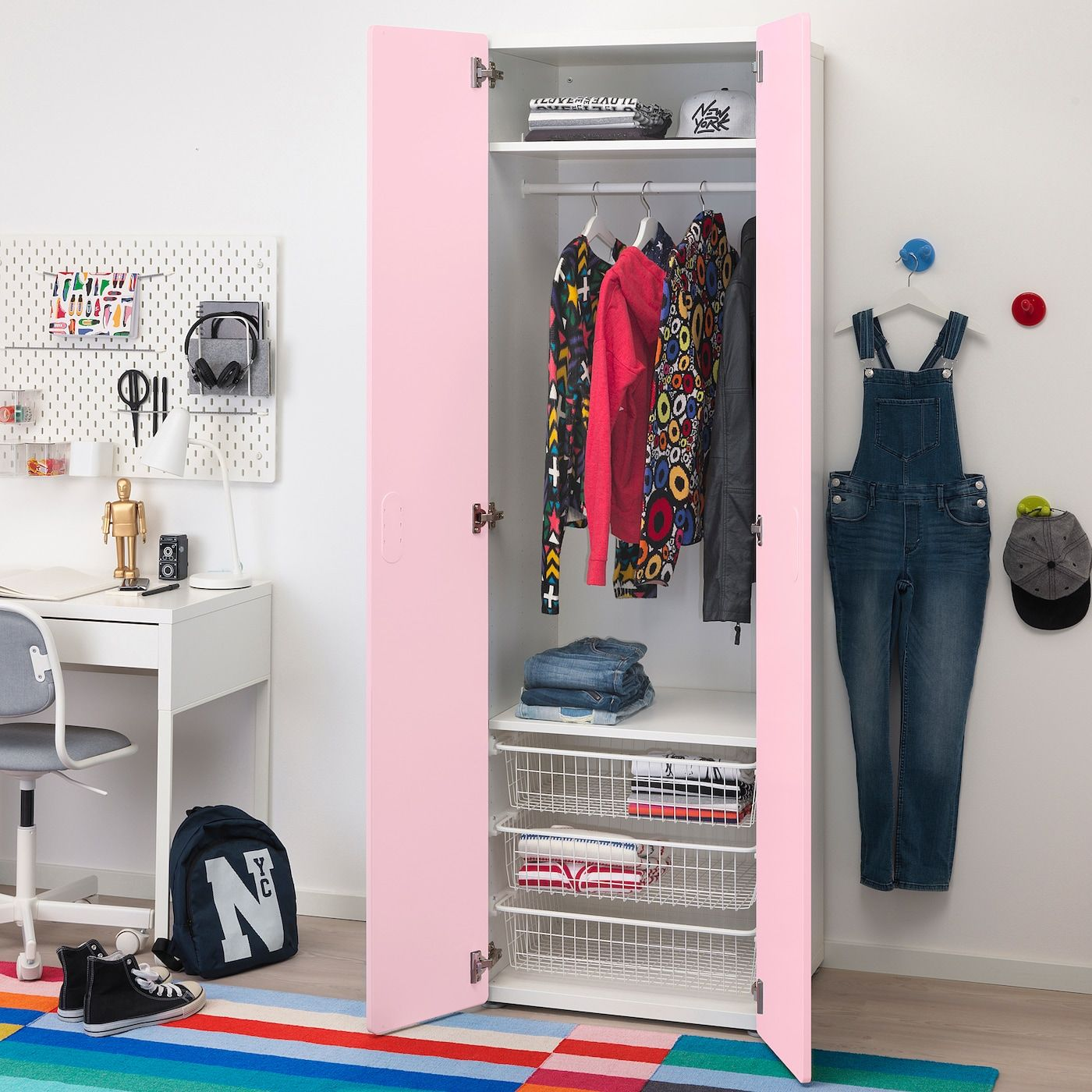 IKEA STUVA / FRITIDS Wardrobe white, light pink in 2020
