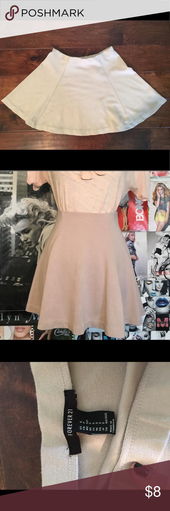 Forever 21 - Small Tan Skater Skirt Forever 21 - Small Tan Skater Skirt - Elastic Waist Band Forever 21 Skirts Mini