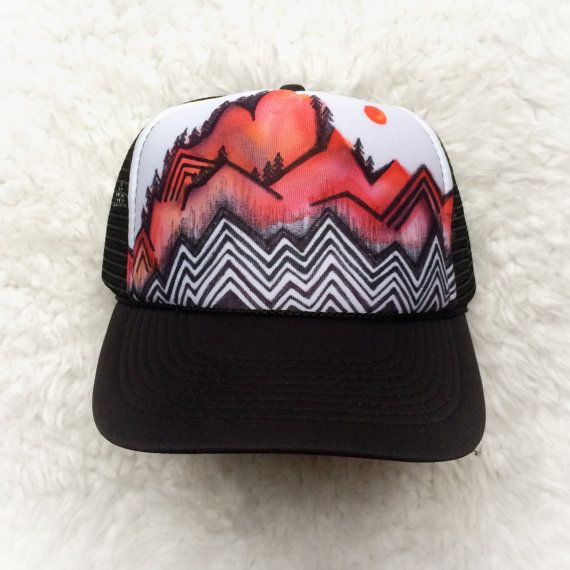 3efd5a26bc99c Abstract Mountain Hand Painted Trucker Hat