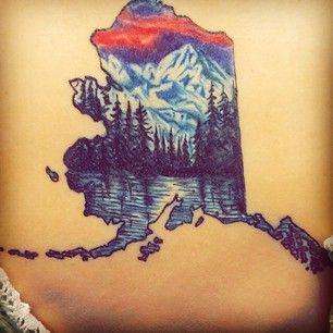 Alaska tattoo on pinterest moose tattoo north star for Tattoo of ak