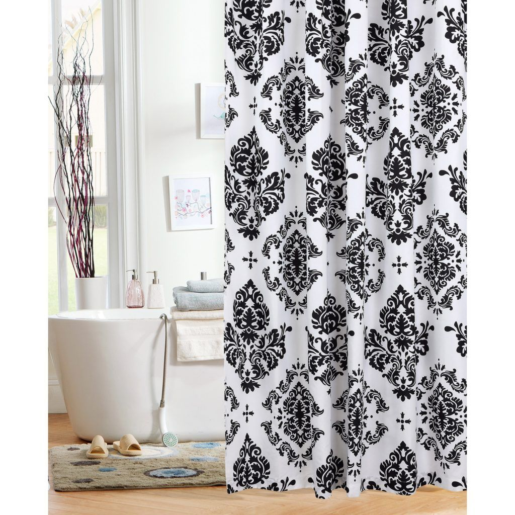 Beau Blue Brown Damask Shower Curtain