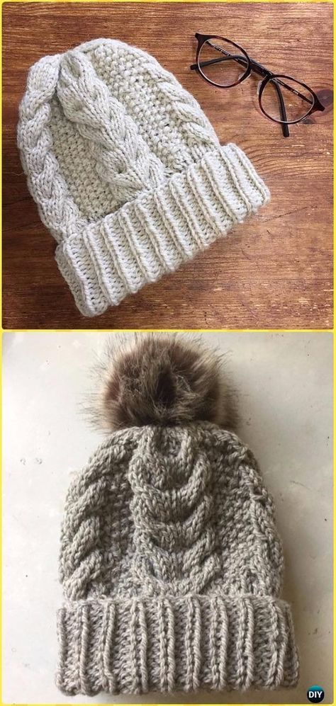 Knit Cable Beanie Hat Free Patterns #beaniehats