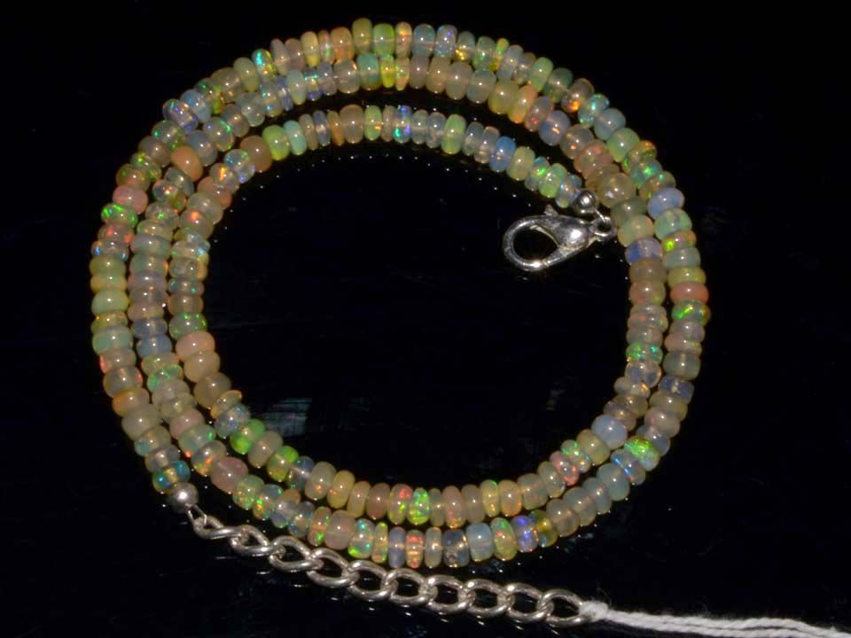 Natural Ethiopian Welo Opal Gemstone Rondelle Plain Beads 40 Ct. Necklace