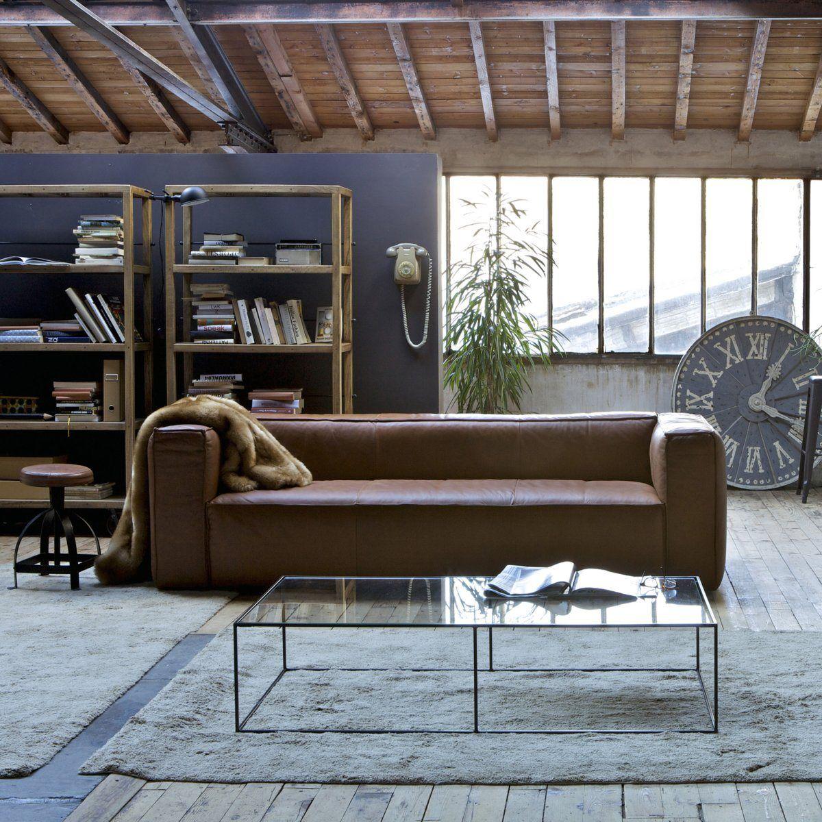 Déco industrielle avec canapé cuir marron salon AMPM