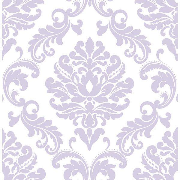 Purple Ariel Peel And Stick Wallpaper By Nuwallpaper Damask Wallpaper Nuwallpaper Brewster Wallpaper