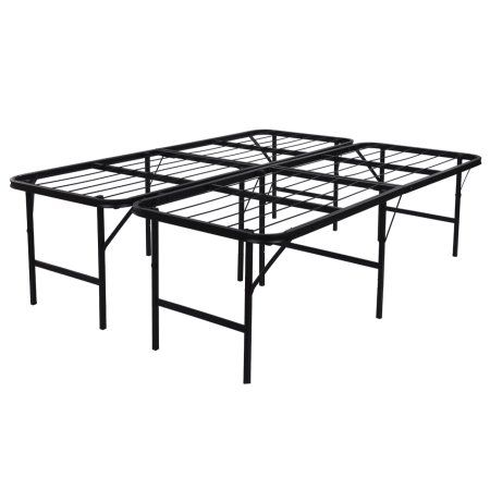 Belleze Foldable Bed Frame Queen Size, Foldable Queen Bed Frame With Storage