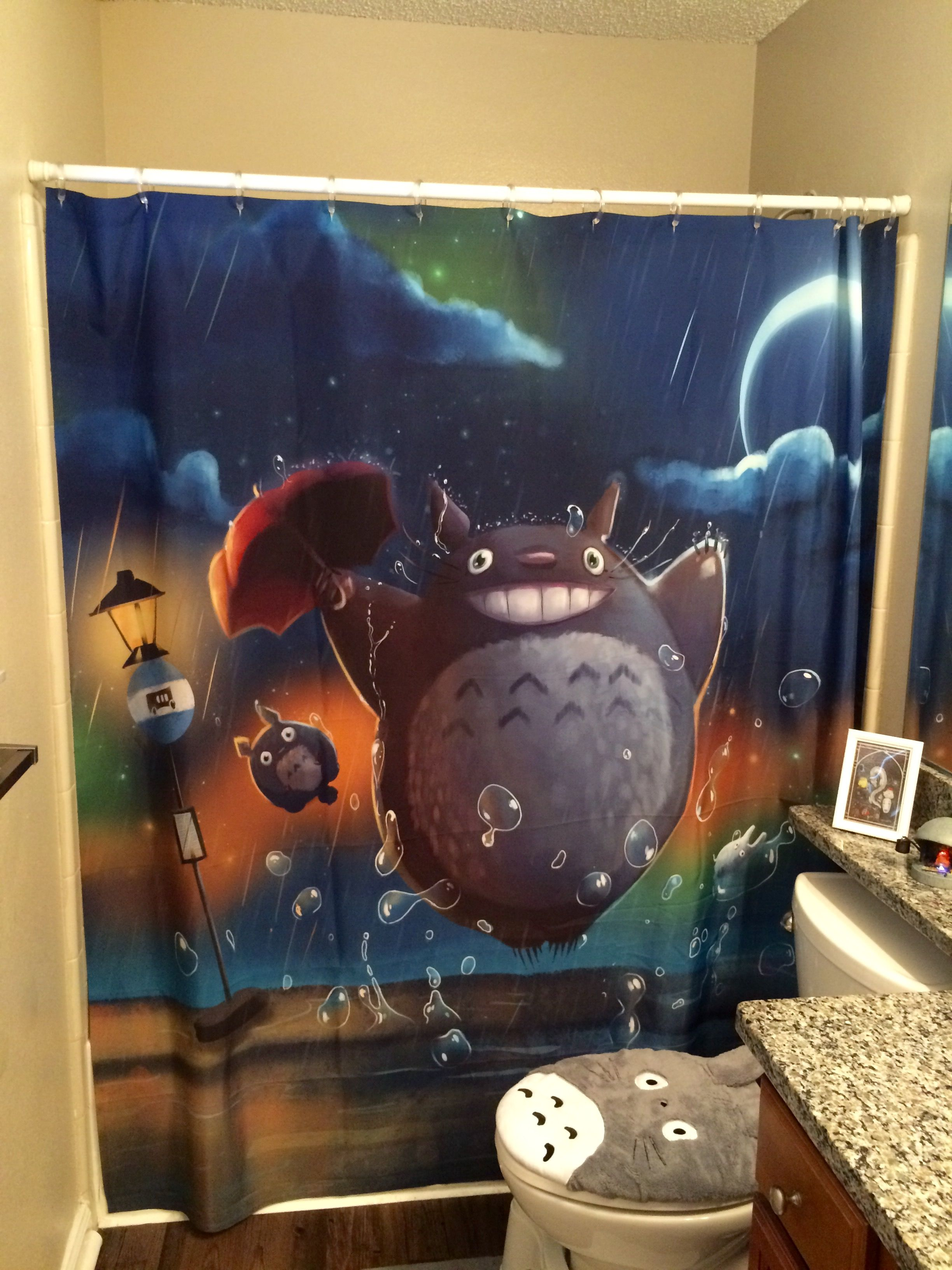 Totoro Shower Curtain Studio Ghibli Themed Nursery Wall Art