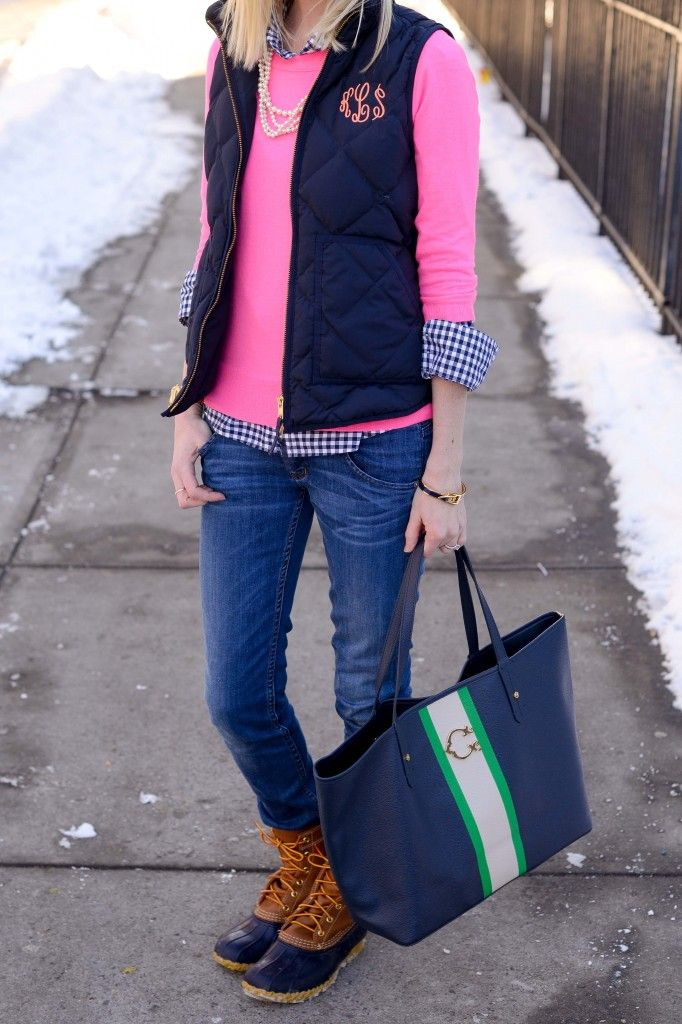 navy gingham shirt + hot pink crew neck sweater + navy quilted vest + jeans + bean boots