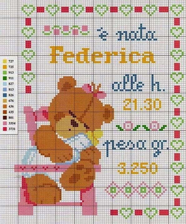 Schema punto croce quadretti nascita hobby lavori for Punto croce bambini nascita