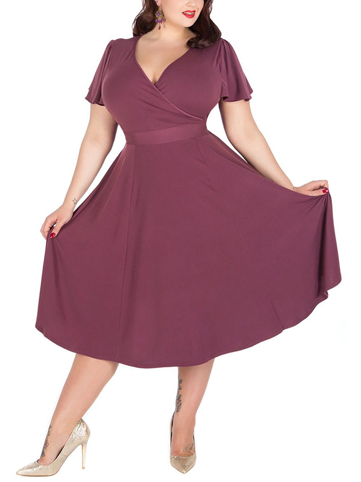 Women\'s V-neckline Stretchy Casual Midi Plus Size Bridesmaid Dress ...