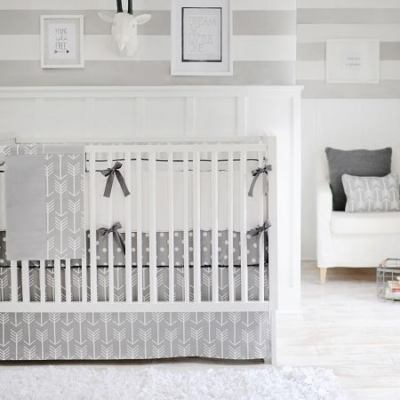 Arrow Crib Bedding Be Brave Crib Rail Cover Collection Grey