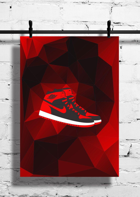 Nike Air Jordan 1 Bred Poster – 1985 – Sneaker Print – A4 - A3 – Trainer –  Black – Red – Polygon – 1 – Art – Sneaker - Basketball - Sport