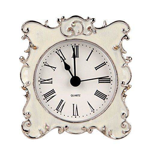 Nikky Home Pewter Pretty Small And Cute Vintage Table Clock With
