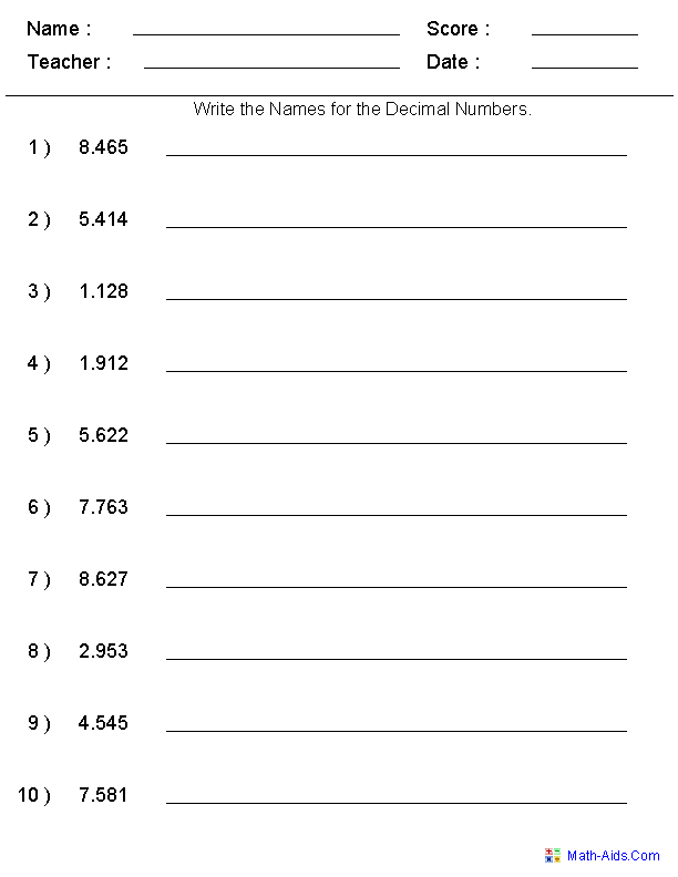 Writing Word Names For Decimal Numbers  Place Value Worksheet